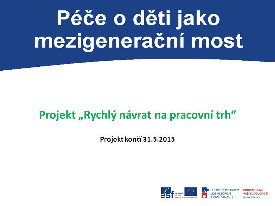 """Projekt """"Rychlý návrat na pracovní trh Projekt končí 31.5.2015"""