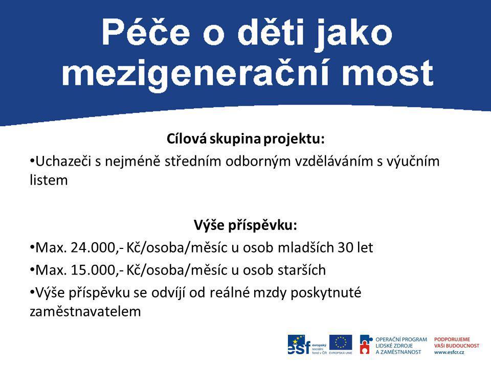 Cílová skupina projektu: Uchazeči s nejméně středním odborným vzděláváním s výučním listem Výše příspěvku: Max. 24.000,- Kč/osoba/měsíc u osob mladšíc