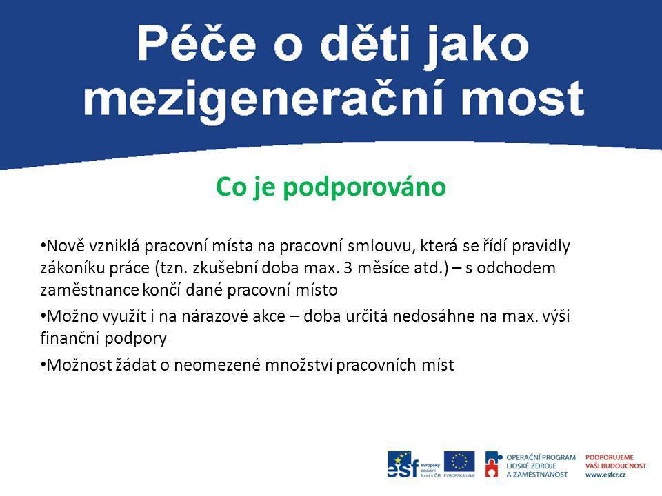 Co je podporováno Nově vzniklá pracovní místa na pracovní smlouvu, která se řídí pravidly zákoníku práce (tzn.