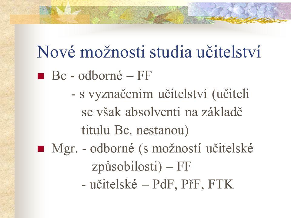Možnosti studia učitelství Dosavadní: a) Mgr.- odborné s možností učitel.