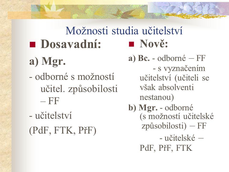Možnosti studia učitelství Dosavadní: a) Mgr. - odborné s možností učitel.