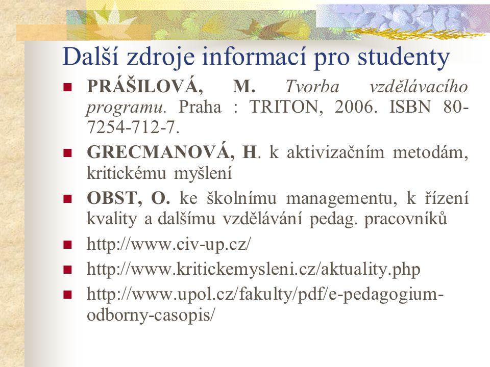 Další zdroje informací pro studenty PRÁŠILOVÁ, M. Tvorba vzdělávacího programu.