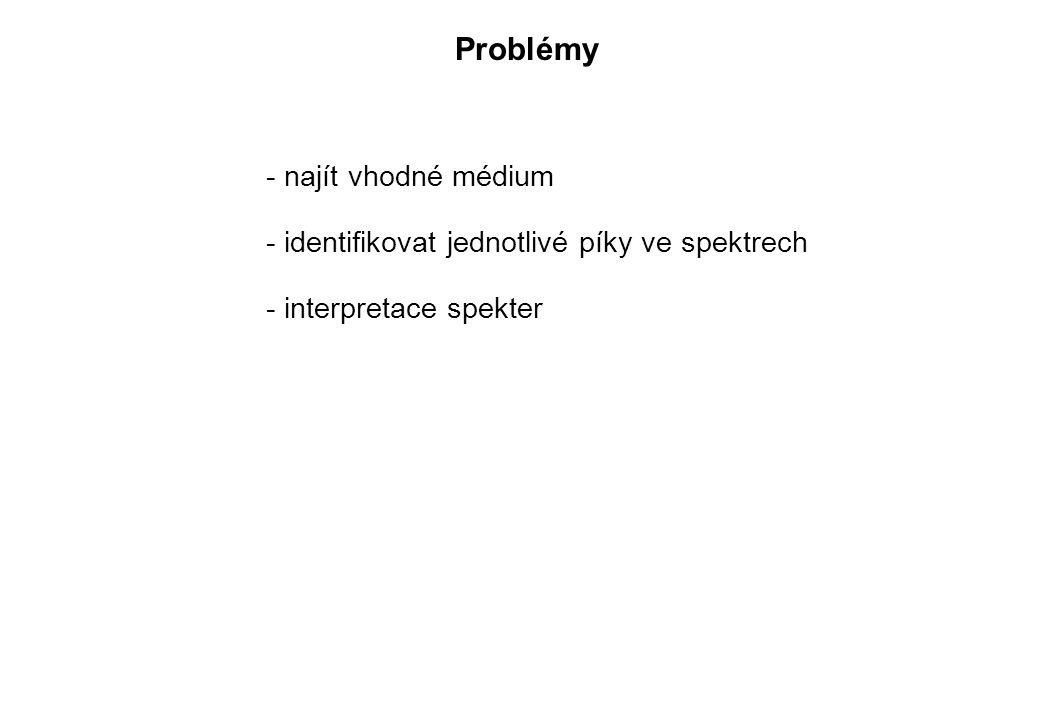 Problémy - najít vhodné médium - identifikovat jednotlivé píky ve spektrech - interpretace spekter