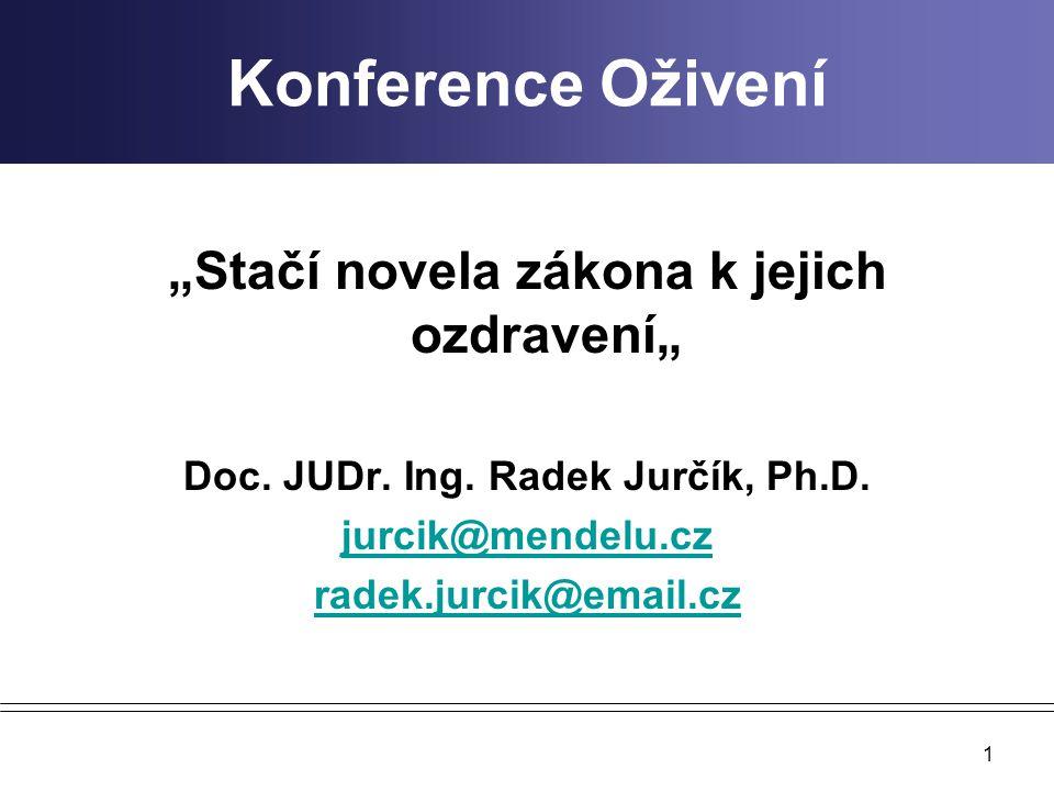 """Konference Oživení """"Stačí novela zákona k jejich ozdravení"""" Doc. JUDr. Ing. Radek Jurčík, Ph.D. jurcik@mendelu.cz radek.jurcik@email.cz 1"""