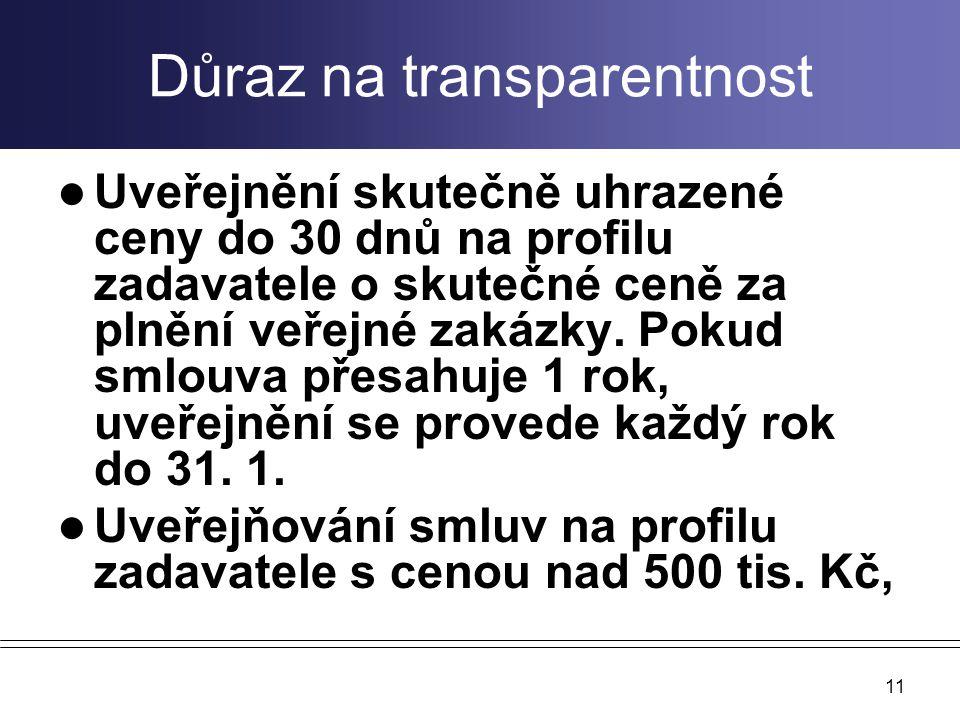 Důraz na transparentnost Uveřejnění skutečně uhrazené ceny do 30 dnů na profilu zadavatele o skutečné ceně za plnění veřejné zakázky. Pokud smlouva př