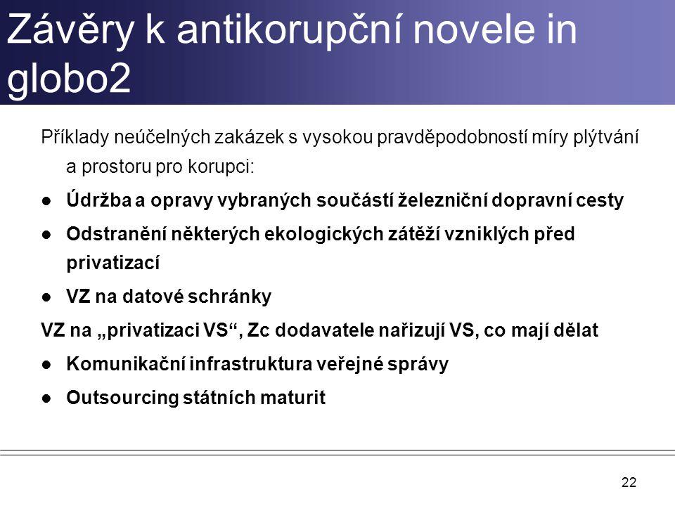 Závěry k antikorupční novele in globo2 Příklady neúčelných zakázek s vysokou pravděpodobností míry plýtvání a prostoru pro korupci: Údržba a opravy vy