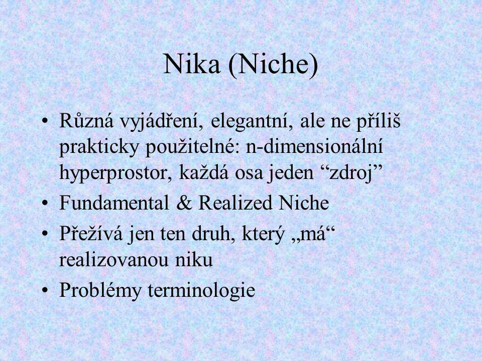 """Nika (Niche) Různá vyjádření, elegantní, ale ne příliš prakticky použitelné: n-dimensionální hyperprostor, každá osa jeden """"zdroj"""" Fundamental & Reali"""