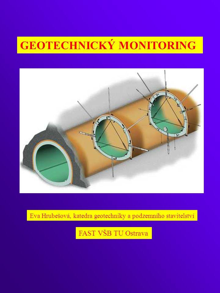 MONITOROVÁNÍ POHYBŮ V HLOUBCE MASÍVU EXTENZOMETRICKÁ MĚŘENÍ monitorování relativních deformací ve směru osy vrtu uvnitř horninového prostředí (obvykle pro měření svislých deformací)- monitoruje se relativní změna vzdálenosti mezi kotvou a zhlavím vrtu PRINCIP: TYPY EXTENZOMETRŮ mechanický elektrický magnetický