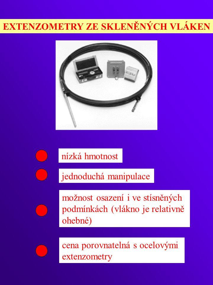 EXTENZOMETRY ZE SKLENĚNÝCH VLÁKEN nízká hmotnost jednoduchá manipulace možnost osazení i ve stísněných podmínkách (vlákno je relativně ohebné) cena porovnatelná s ocelovými extenzometry