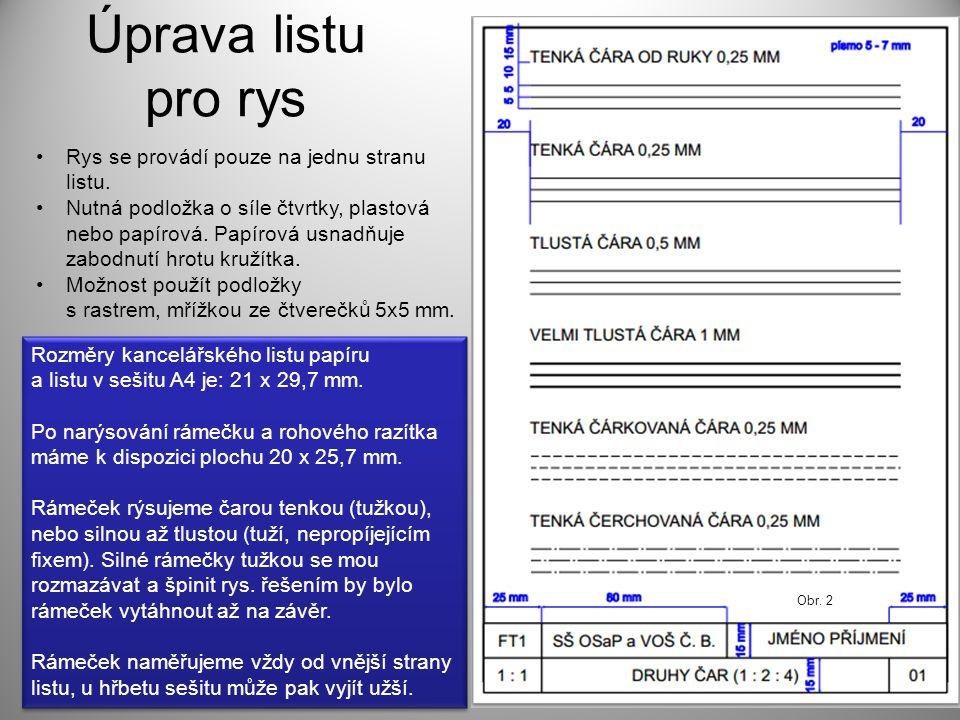 Úprava listu pro rys Rys se provádí pouze na jednu stranu listu. Nutná podložka o síle čtvrtky, plastová nebo papírová. Papírová usnadňuje zabodnutí h
