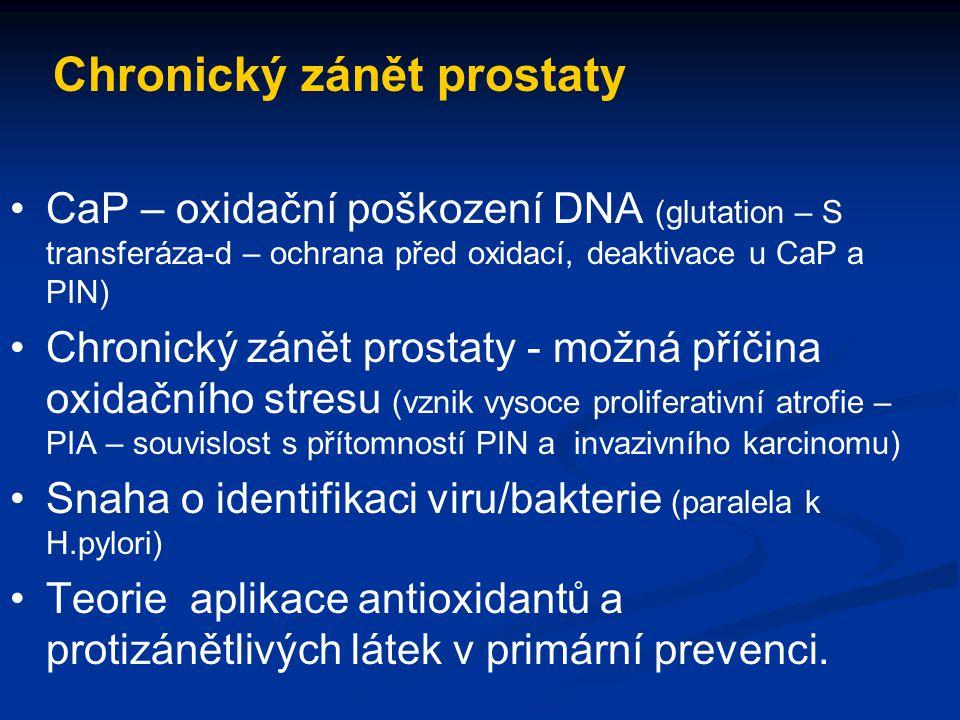 Chronický zánět prostaty CaP – oxidační poškození DNA (glutation – S transferáza-d – ochrana před oxidací, deaktivace u CaP a PIN) Chronický zánět pro