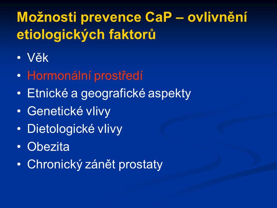 Možnosti prevence CaP – ovlivnění etiologických faktorů Věk Hormonální prostředí Etnické a geografické aspekty Genetické vlivy Dietologické vlivy Obez