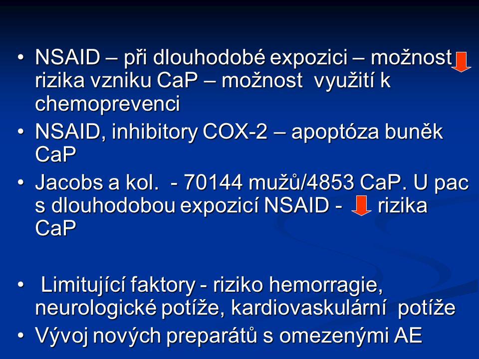 NSAID – při dlouhodobé expozici – možnost rizika vzniku CaP – možnost využití k chemoprevenciNSAID – při dlouhodobé expozici – možnost rizika vzniku C