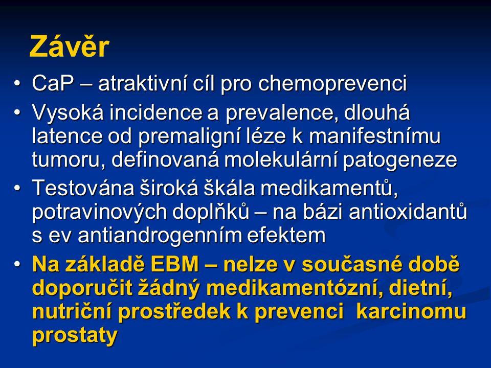 Závěr CaP – atraktivní cíl pro chemoprevenciCaP – atraktivní cíl pro chemoprevenci Vysoká incidence a prevalence, dlouhá latence od premaligní léze k