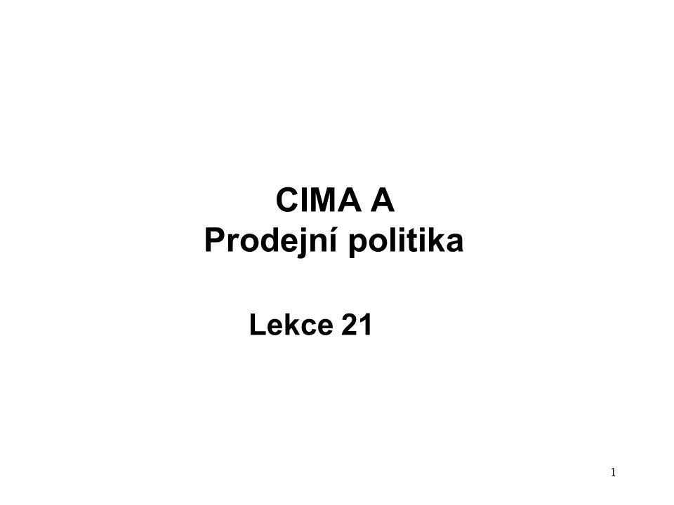 1 CIMA A Prodejní politika Lekce 21