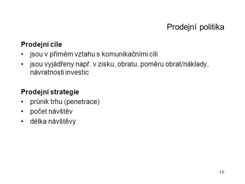10 Prodejní politika Prodejní cíle jsou v přímém vztahu s komunikačními cíli jsou vyjádřeny např. v zisku, obratu, poměru obrat/náklady, návratnosti i