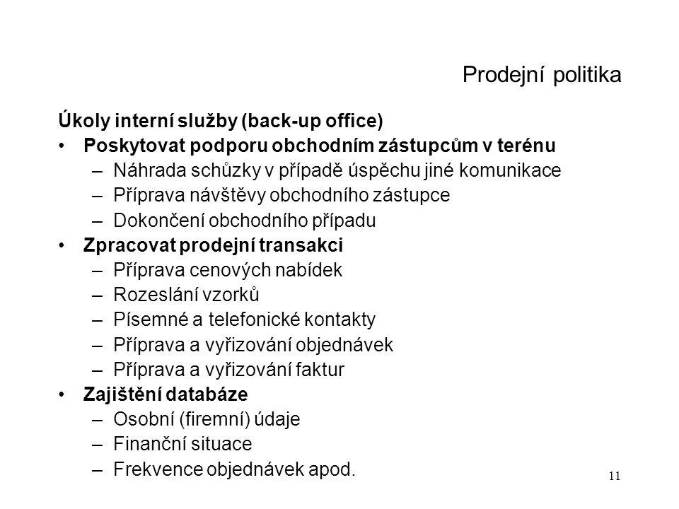 11 Prodejní politika Úkoly interní služby (back-up office) Poskytovat podporu obchodním zástupcům v terénu –Náhrada schůzky v případě úspěchu jiné kom