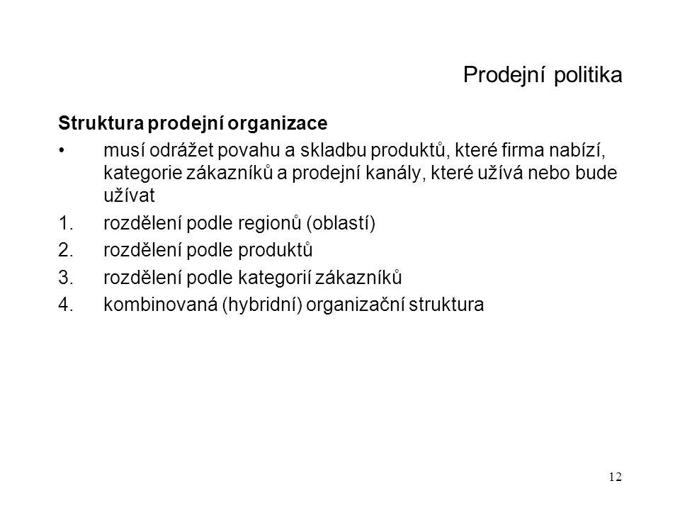 12 Prodejní politika Struktura prodejní organizace musí odrážet povahu a skladbu produktů, které firma nabízí, kategorie zákazníků a prodejní kanály,