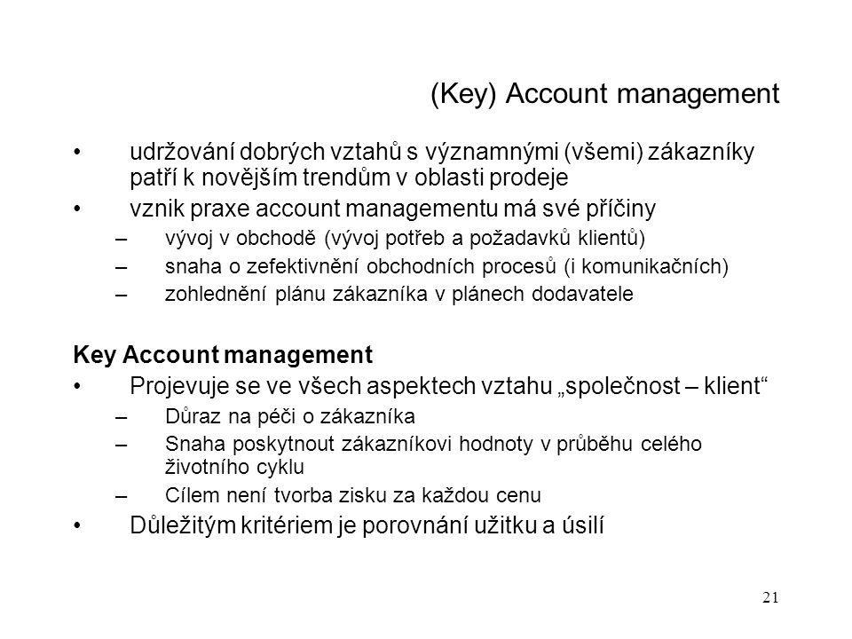 21 (Key) Account management udržování dobrých vztahů s významnými (všemi) zákazníky patří k novějším trendům v oblasti prodeje vznik praxe account man
