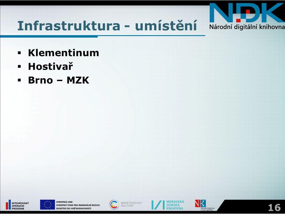 Infrastruktura - umístění  Klementinum  Hostivař  Brno – MZK 16