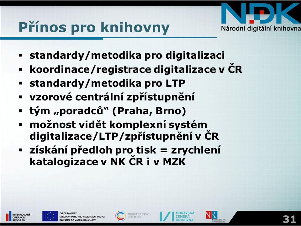 Přínos pro knihovny  standardy/metodika pro digitalizaci  koordinace/registrace digitalizace v ČR  standardy/metodika pro LTP  vzorové centrální z