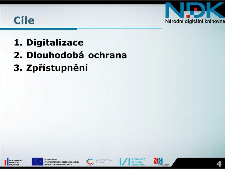 Cíle 1.Digitalizace 2.Dlouhodobá ochrana 3.Zpřístupnění 4