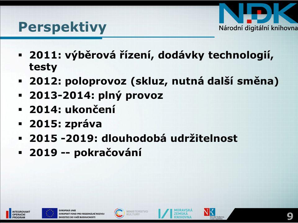 Perspektivy  2011: výběrová řízení, dodávky technologií, testy  2012: poloprovoz (skluz, nutná další směna)  2013-2014: plný provoz  2014: ukončen