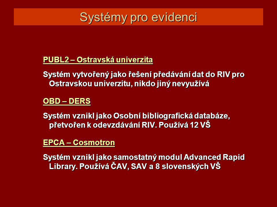 Systémy pro evidenci PUBL2 – Ostravská univerzita PUBL2 – Ostravská univerzita Systém vytvořený jako řešení předávání dat do RIV pro Ostravskou univerzitu, nikdo jiný nevyužívá OBD – DERS OBD – DERS Systém vznikl jako Osobní bibliografická databáze, přetvořen k odevzdávání RIV.