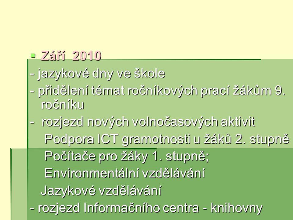  Září 2010 - jazykové dny ve škole - přidělení témat ročníkových prací žákům 9.