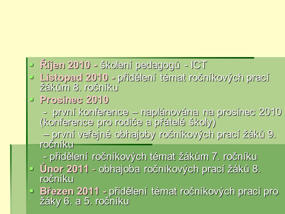  Říjen 2010 - školení pedagogů - ICT  Listopad 2010 - přidělení témat ročníkových prací žákům 8.