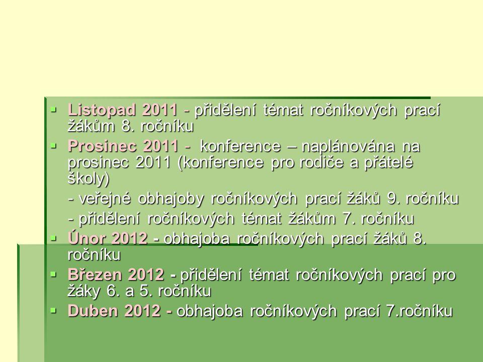  Listopad 2011 - přidělení témat ročníkových prací žákům 8.