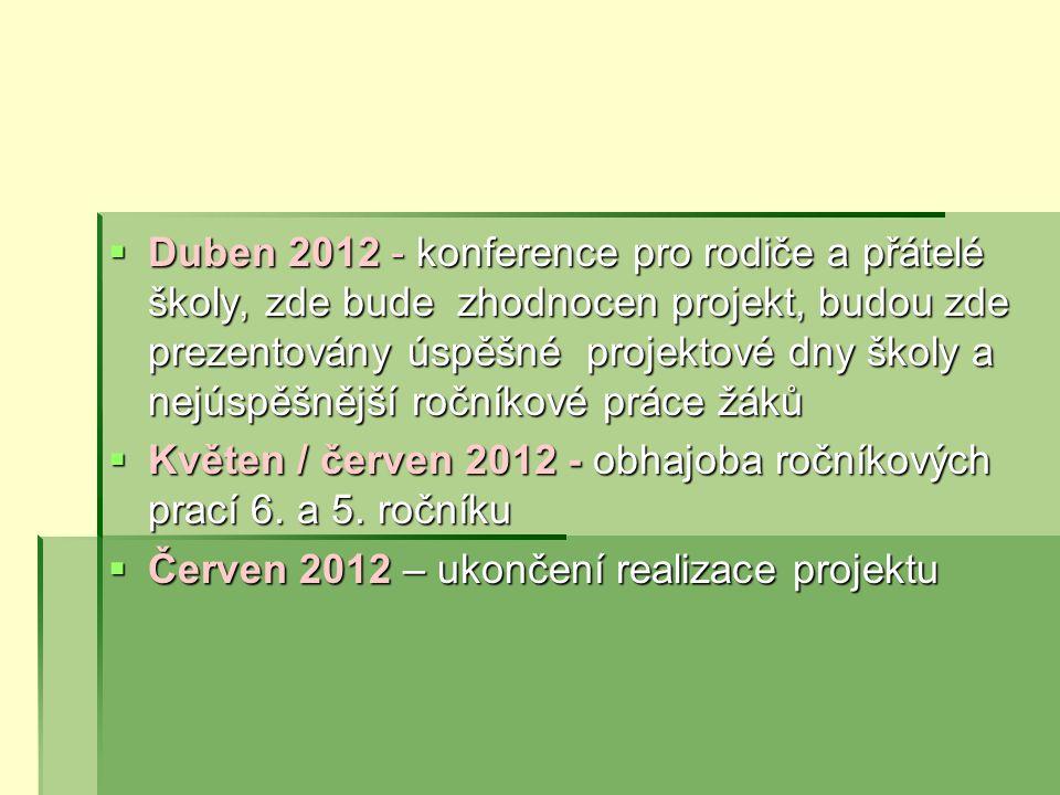  Duben 2012 - konference pro rodiče a přátelé školy, zde bude zhodnocen projekt, budou zde prezentovány úspěšné projektové dny školy a nejúspěšnější ročníkové práce žáků  Květen / červen 2012 - obhajoba ročníkových prací 6.