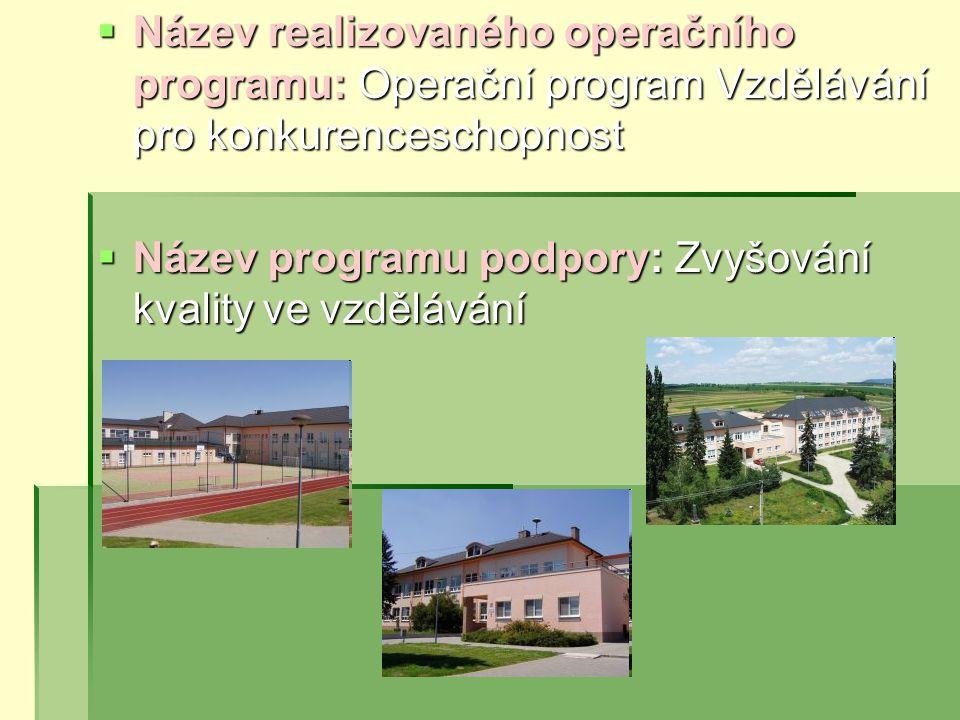  Název realizovaného operačního programu: Operační program Vzdělávání pro konkurenceschopnost  Název programu podpory: Zvyšování kvality ve vzdělávání