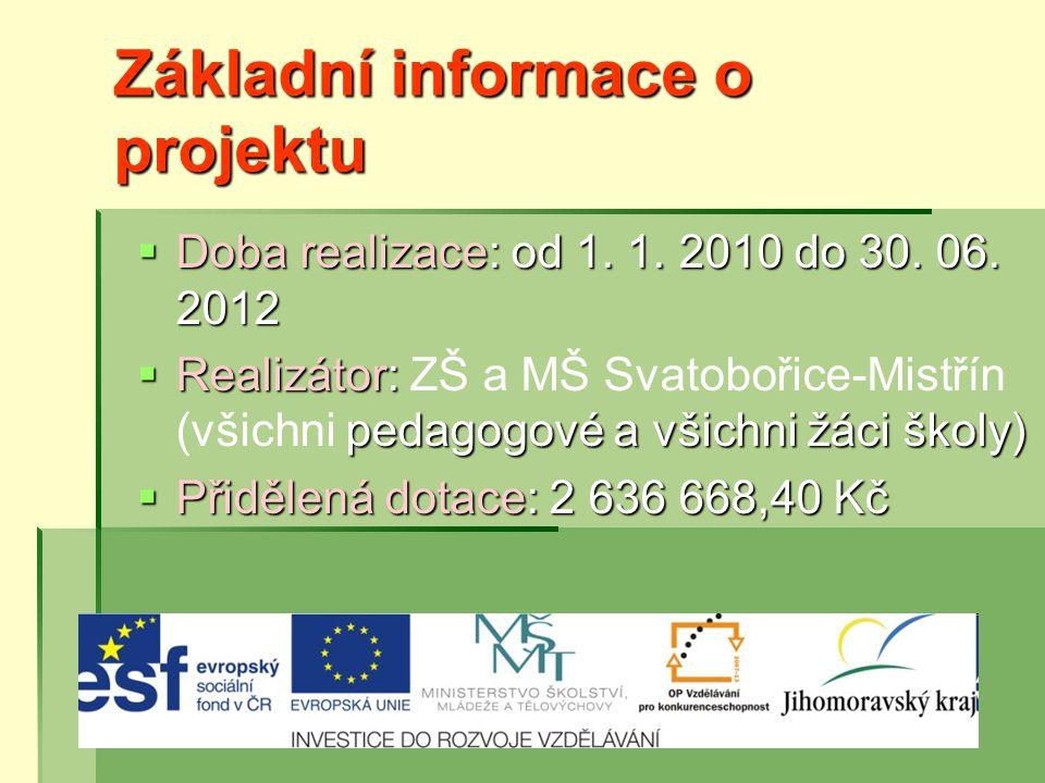 Základní informace o projektu  Doba realizace: od 1.