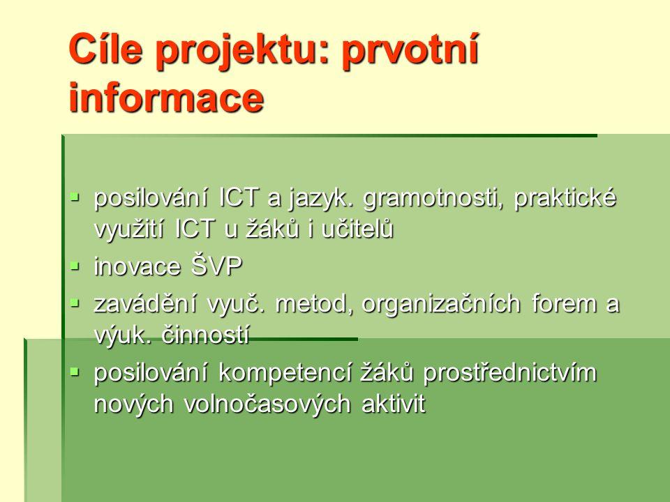 Cíle projektu: prvotní informace  posilování ICT a jazyk.