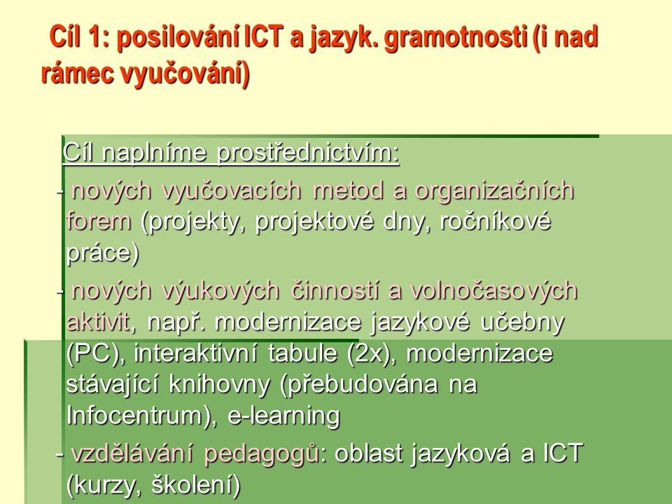 Cíl 1: posilování ICT a jazyk.gramotnosti (i nad rámec vyučování) Cíl 1: posilování ICT a jazyk.