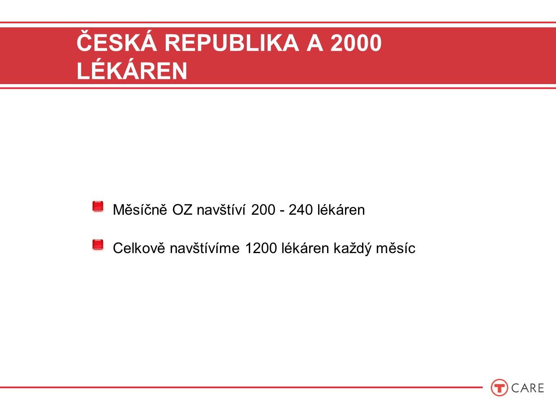 ČESKÁ REPUBLIKA A 2000 LÉKÁREN Měsíčně OZ navštíví 200 - 240 lékáren Celkově navštívíme 1200 lékáren každý měsíc