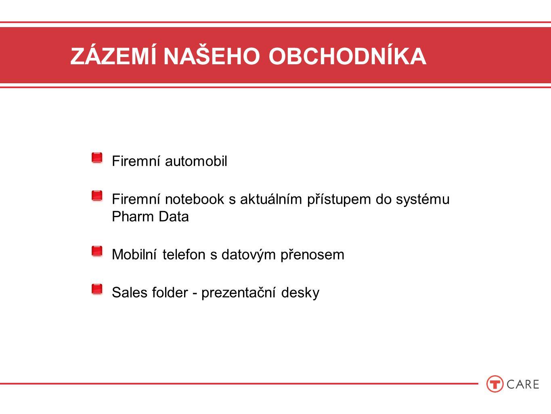 ZÁZEMÍ NAŠEHO OBCHODNÍKA Firemní automobil Firemní notebook s aktuálním přístupem do systému Pharm Data Mobilní telefon s datovým přenosem Sales folder - prezentační desky