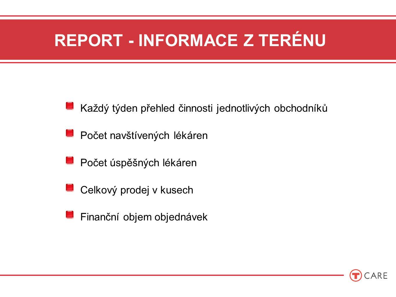 REPORT - INFORMACE Z TERÉNU Každý týden přehled činnosti jednotlivých obchodníků Počet navštívených lékáren Počet úspěšných lékáren Celkový prodej v kusech Finanční objem objednávek