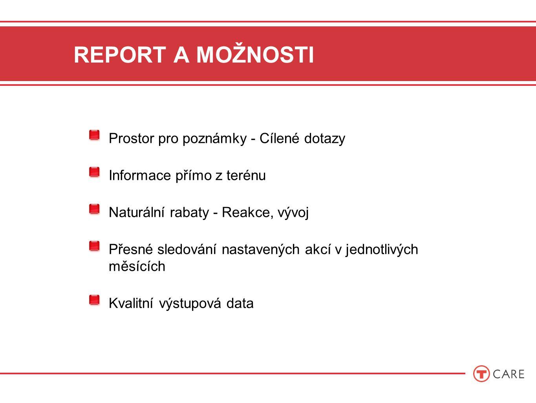 REPORT A MOŽNOSTI Prostor pro poznámky - Cílené dotazy Informace přímo z terénu Naturální rabaty - Reakce, vývoj Přesné sledování nastavených akcí v jednotlivých měsících Kvalitní výstupová data