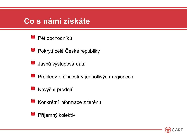 Co s námi získáte Pět obchodníků Pokrytí celé České republiky Jasná výstupová data Přehledy o činnosti v jednotlivých regionech Navýšní prodejů Konkrétní informace z terénu Příjemný kolektiv
