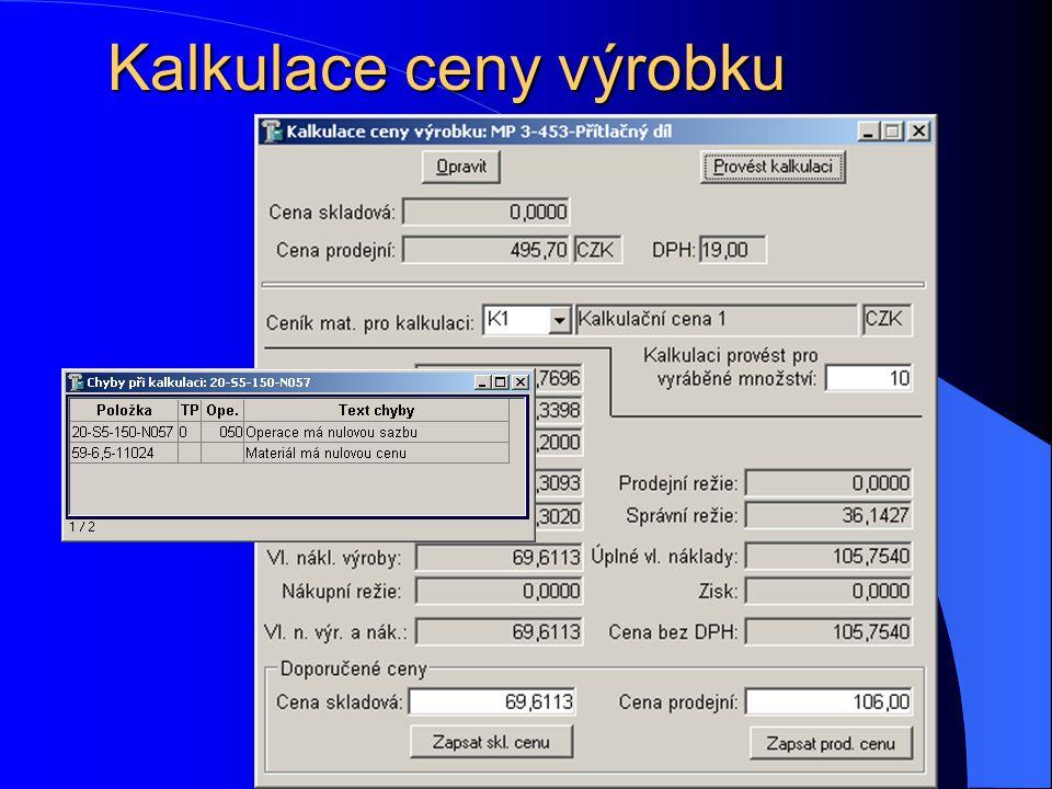 Kalkulace ceny výrobku