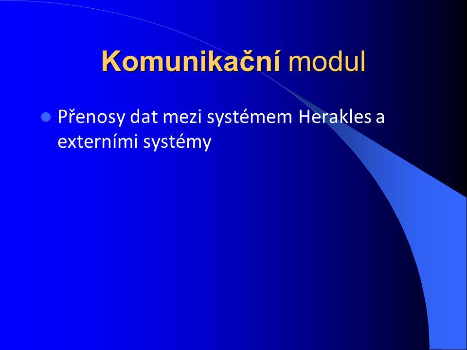 Komunikační modul Přenosy dat mezi systémem Herakles a externími systémy