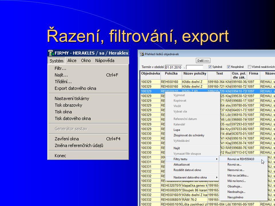Řazení, filtrování, export