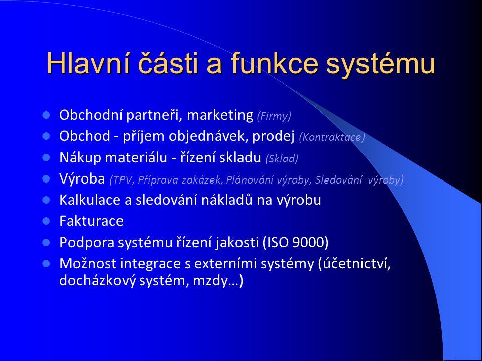Herakles v integrovaném systému řízení Herakles Specializované TPV (normování, knihovny normalizovaných prvků…) CAD/CAM Docházkový systém Ekonomický software …