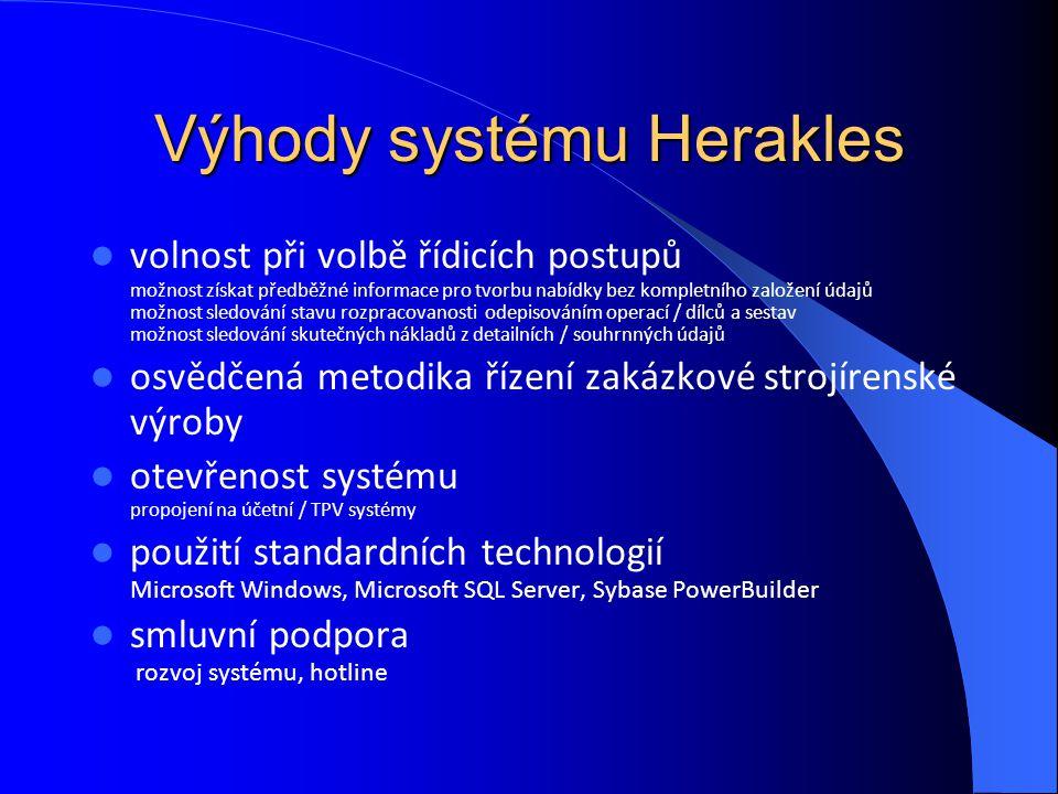 Výhody systému Herakles volnost při volbě řídicích postupů možnost získat předběžné informace pro tvorbu nabídky bez kompletního založení údajů možnos