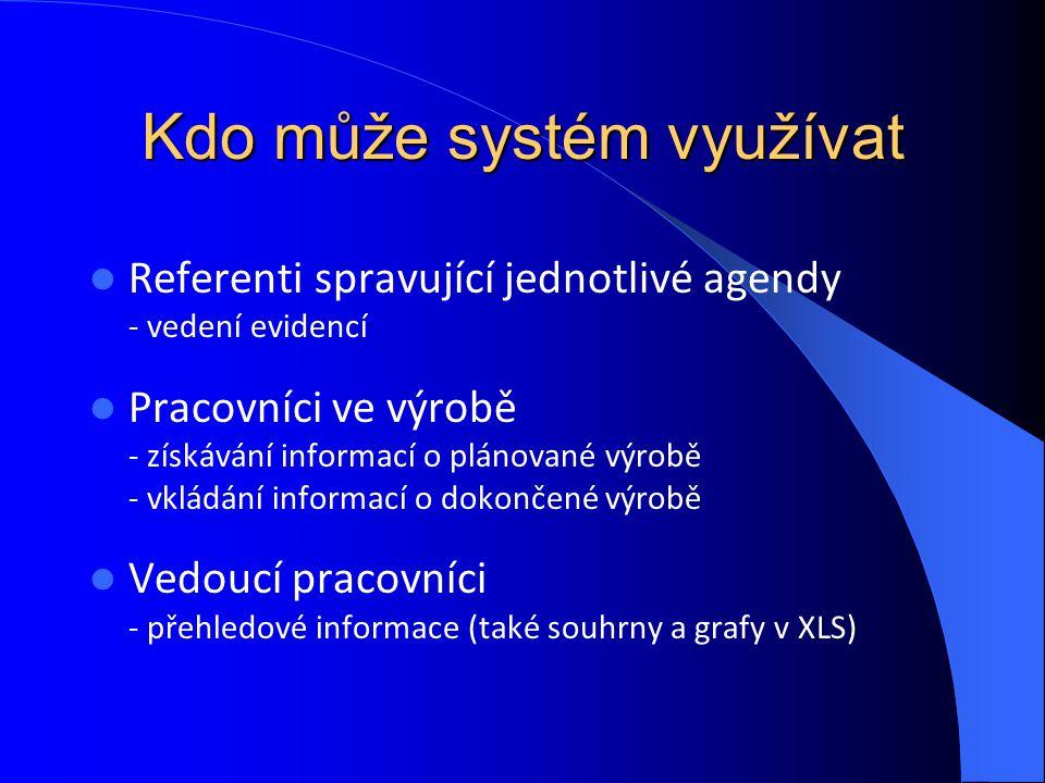 Kdo může systém využívat Referenti spravující jednotlivé agendy - vedení evidencí Pracovníci ve výrobě - získávání informací o plánované výrobě - vklá