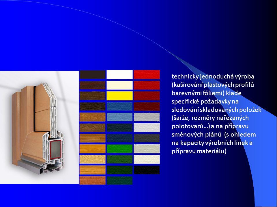 technicky jednoduchá výroba (kašírování plastových profilů barevnými fóliemi) klade specifické požadavky na sledování skladovaných položek (šarže, roz