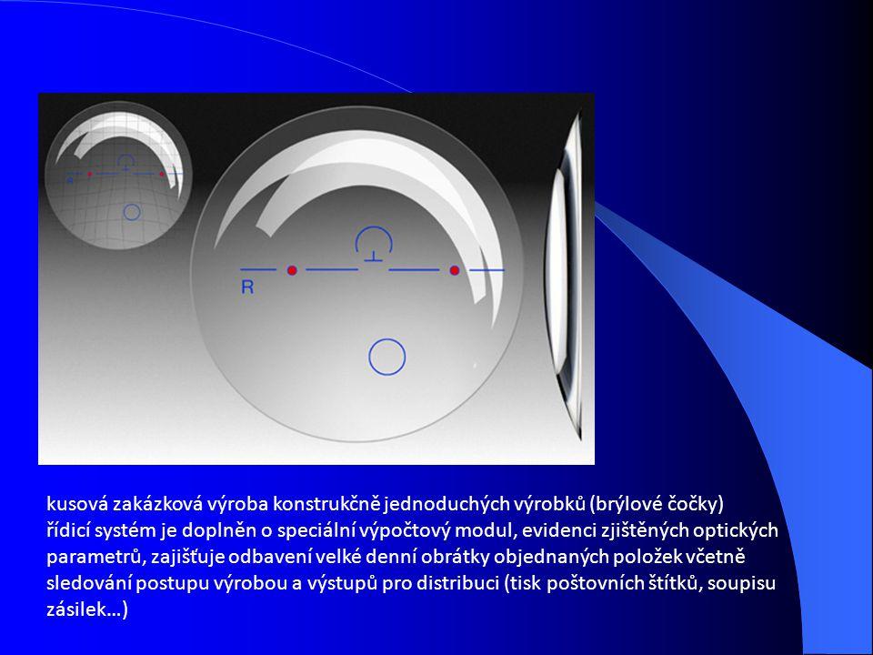 kusová zakázková výroba konstrukčně jednoduchých výrobků (brýlové čočky) řídicí systém je doplněn o speciální výpočtový modul, evidenci zjištěných opt