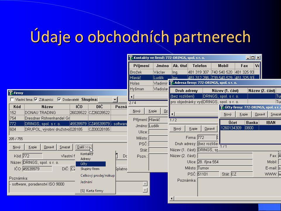 Údaje o obchodních partnerech